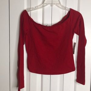 NWT BP size M red longsleeved belly crop top